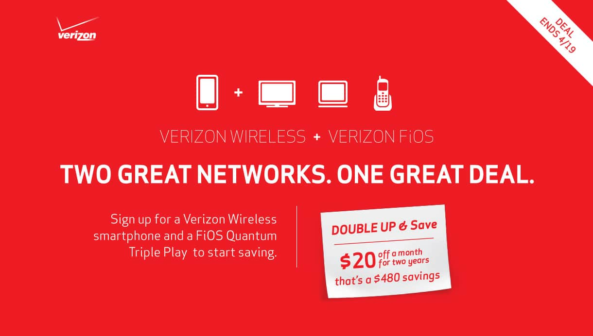 $20 off a Month from bill with Verizon FIOS Quantum Triple Play & Verizon Wireless