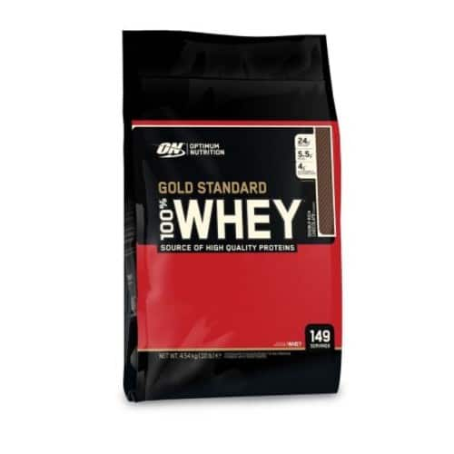 Optimum Nutrition 100% Whey Gold Standard, Double Rich Chocolate, 10 Pounds Bags [Double Rich Chocolate, 10 Pound] $65.61