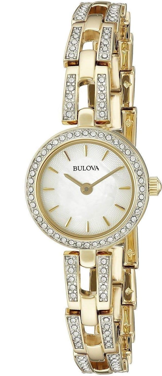Bulova Women's Crystal Analog Display Quartz Gold Watch 98L213 $49.25@luxerwatches.