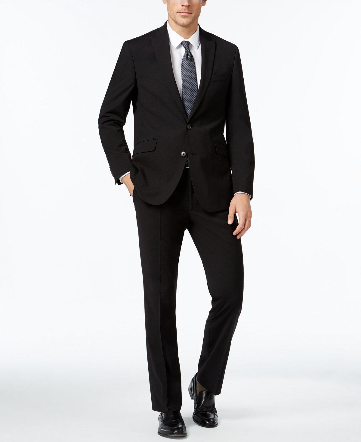 Kenneth Cole Reaction Men's Slim-Fit Black Tonal-Stripe Suit $83.36