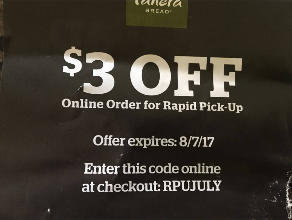 Panera Bread Coupon for Online Orders at Participating Locations (YMMV)
