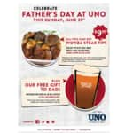 uno's chicago grill fathers day special: unlimited wowza steak tips $9.99 + free pint glass for dads