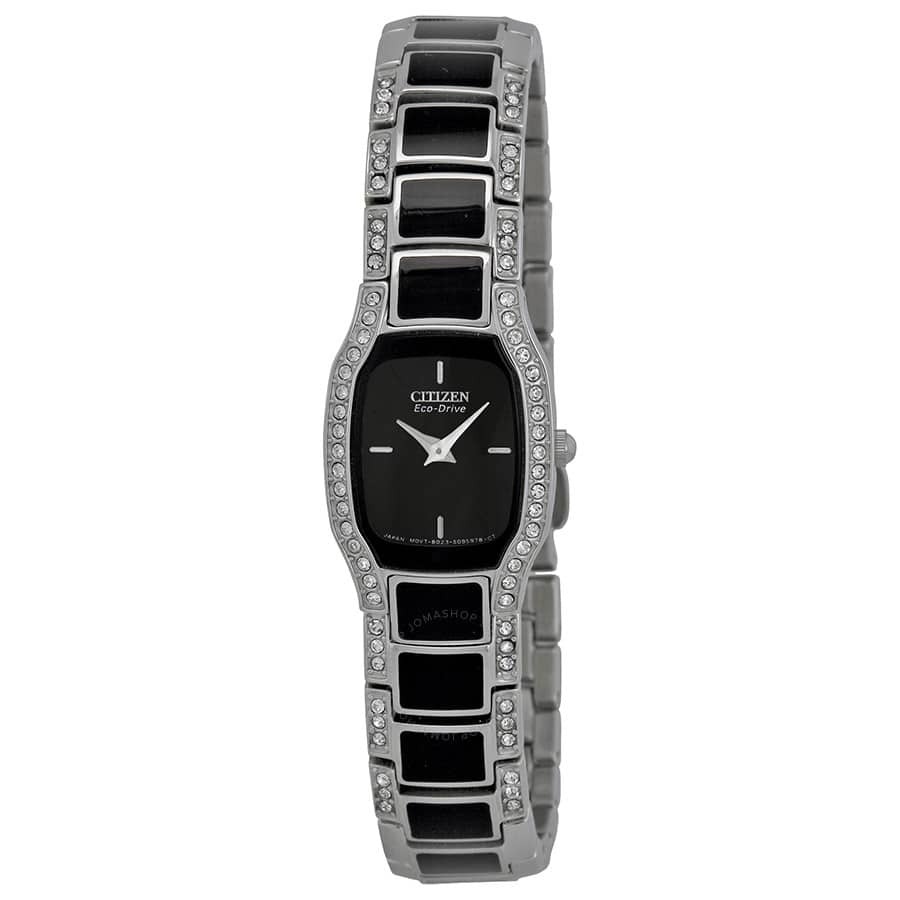 Citizen Normandie Black Dial Stainless Steel Crystal Ladies Watch EW9780-57E $150 AC + Free Ship