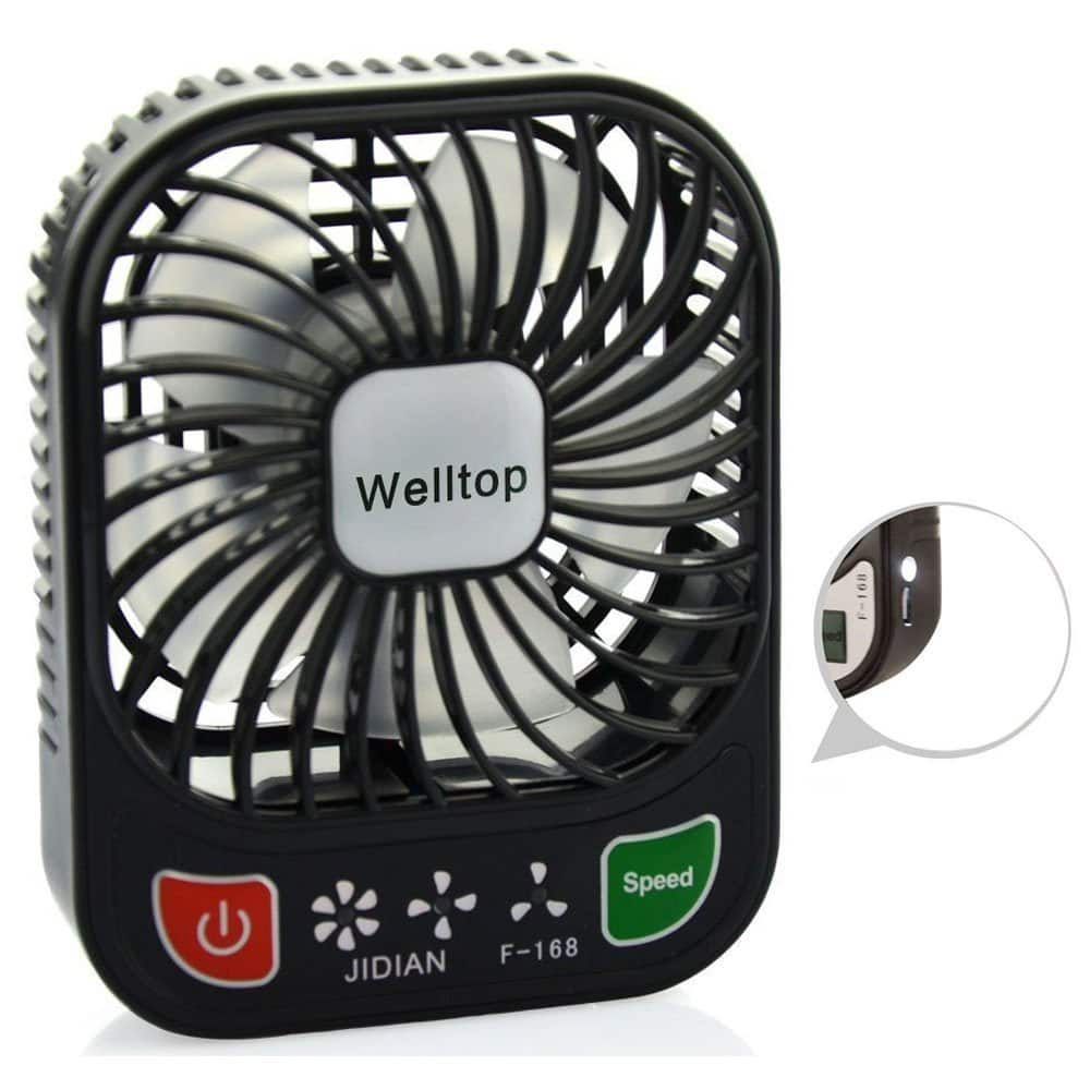 Mini portable rechargeable fan w/small LED light. $6.33