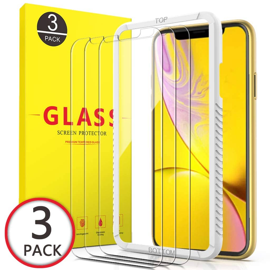 I phone XR - 3 pack screen protectors with installation frame + extras. No coupon/code required $4