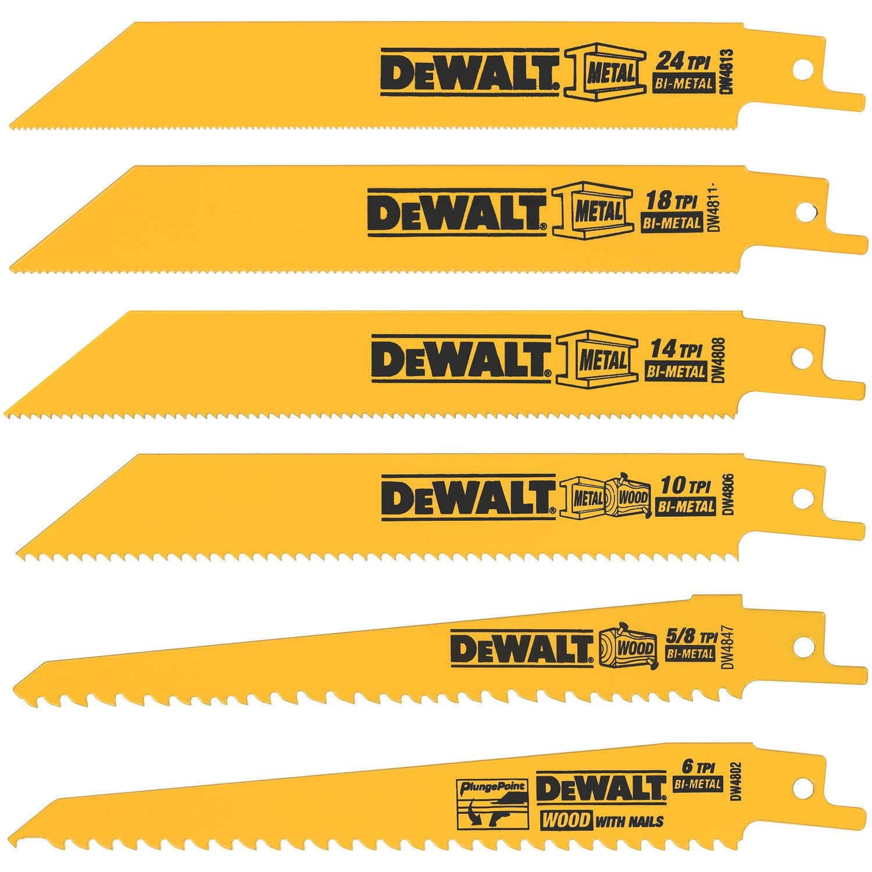 6-Piece DeWalt Metal/Woodcutting Reciprocating Saw Blade Set $5.20