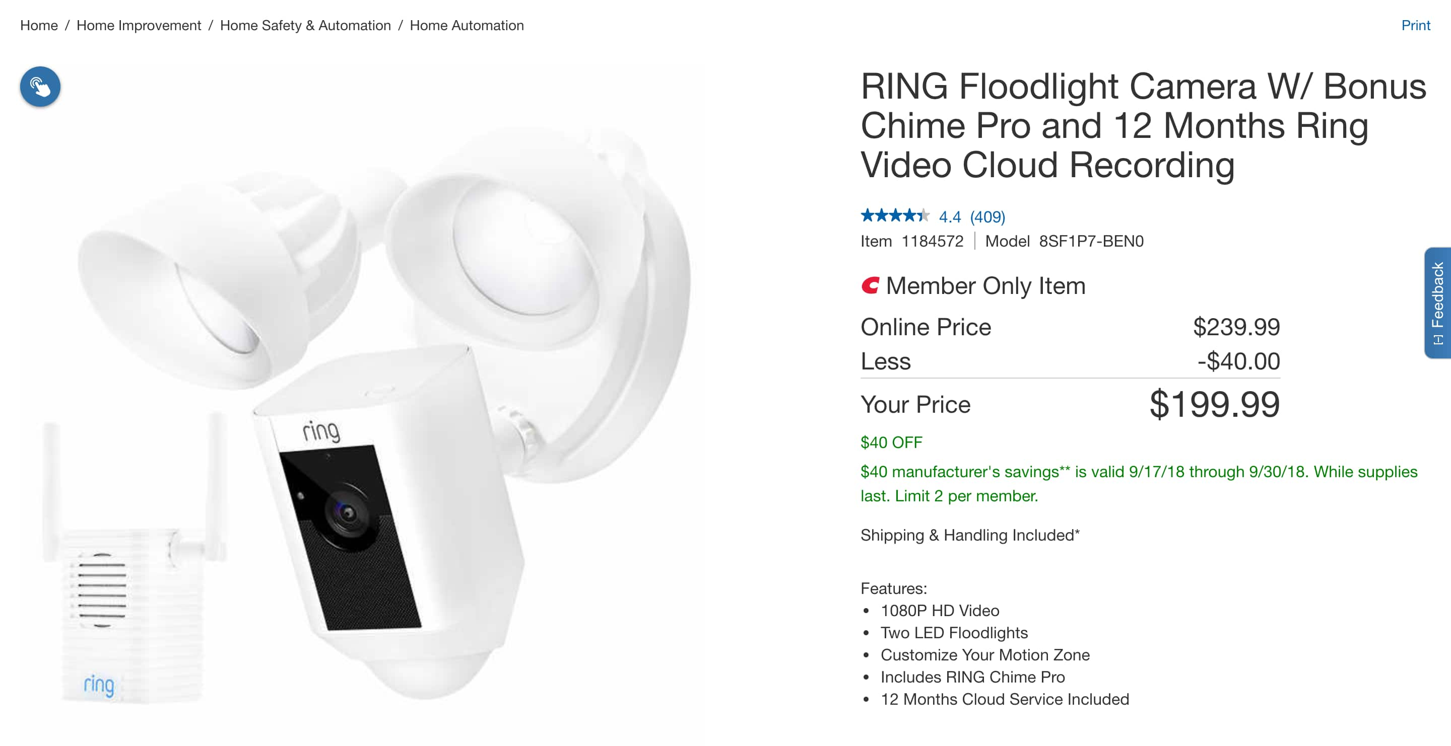 Ring Floodlight Camera W Chime Pro And 1 Year Cloud