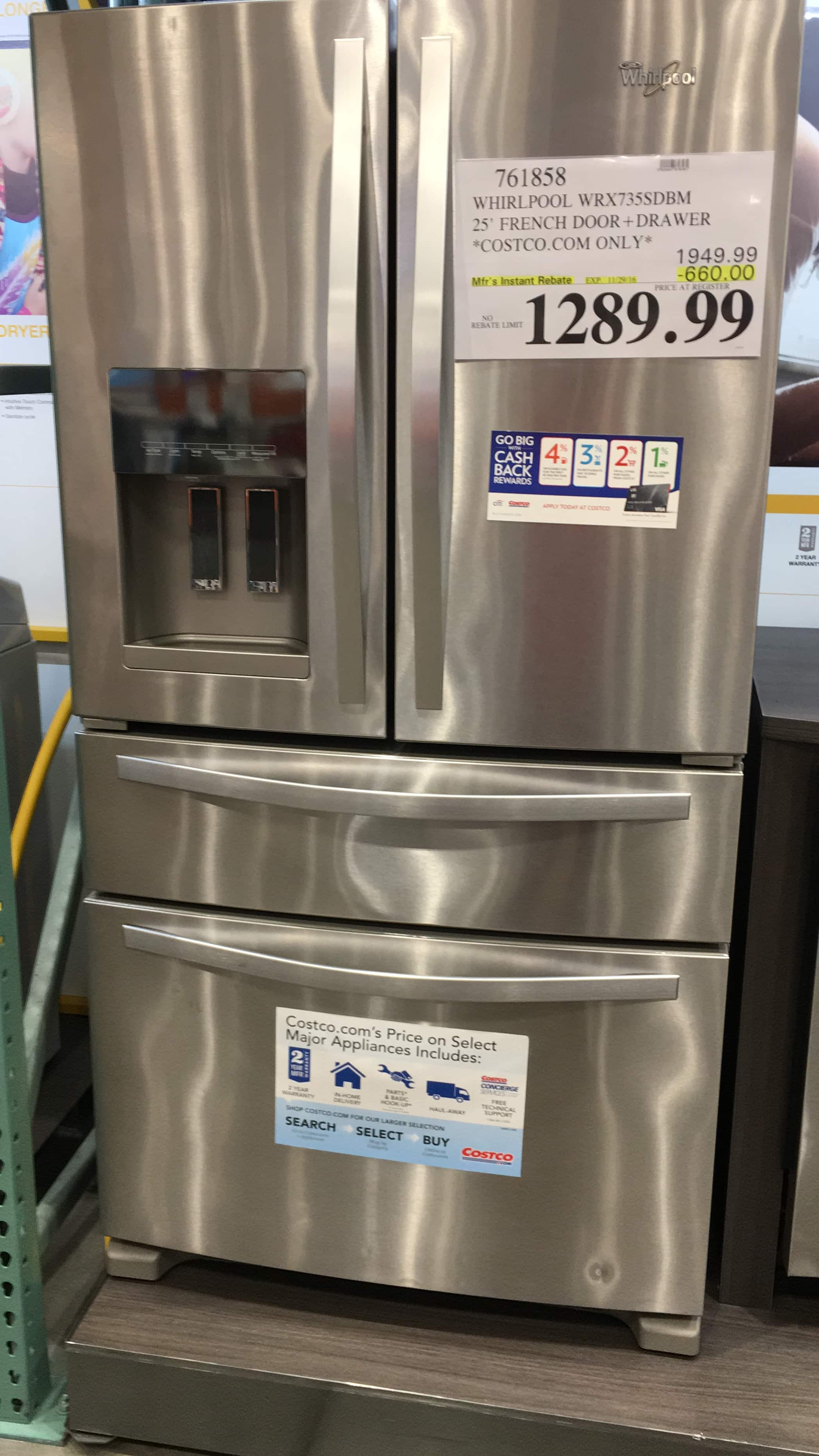 Costco has a Whirlpool 25CuFt French Door Stainless Steel