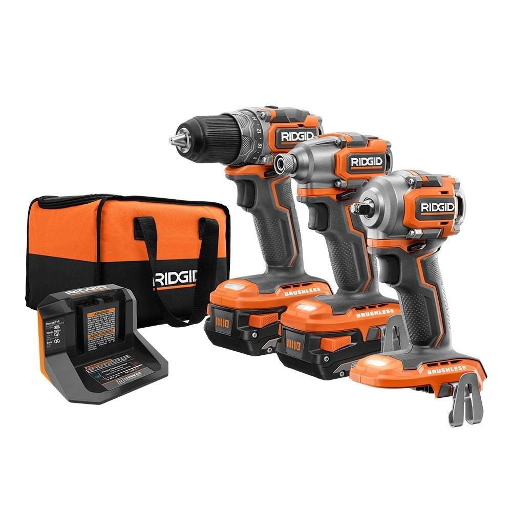 RIDGID 18-Volt Lithium-Ion Brushless Cordless SubCompact Combo Kit (3-Tool) with (2) 2.0 Ah Lithium Battery, Charger and Bag-R9224SBN - $229