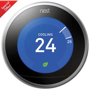 Nest Learning Thermostat 3rd Generation Stainless Steel + FS +No Tax except Canada $184.99