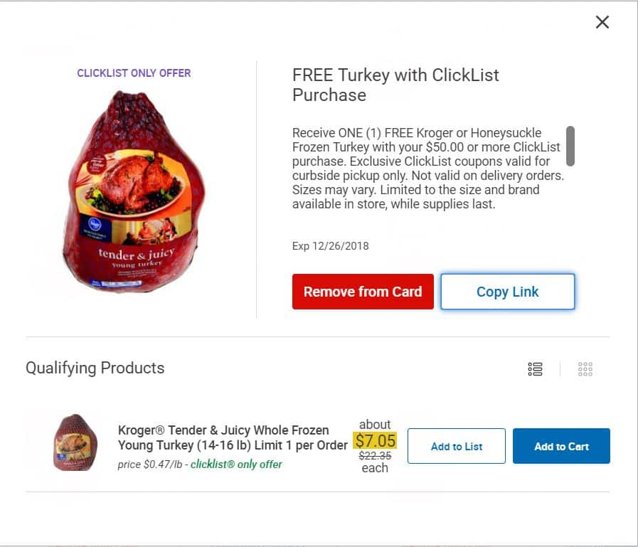 Free Kroger Brand or Honeysuckle Brand Turkey with $50 ClickList