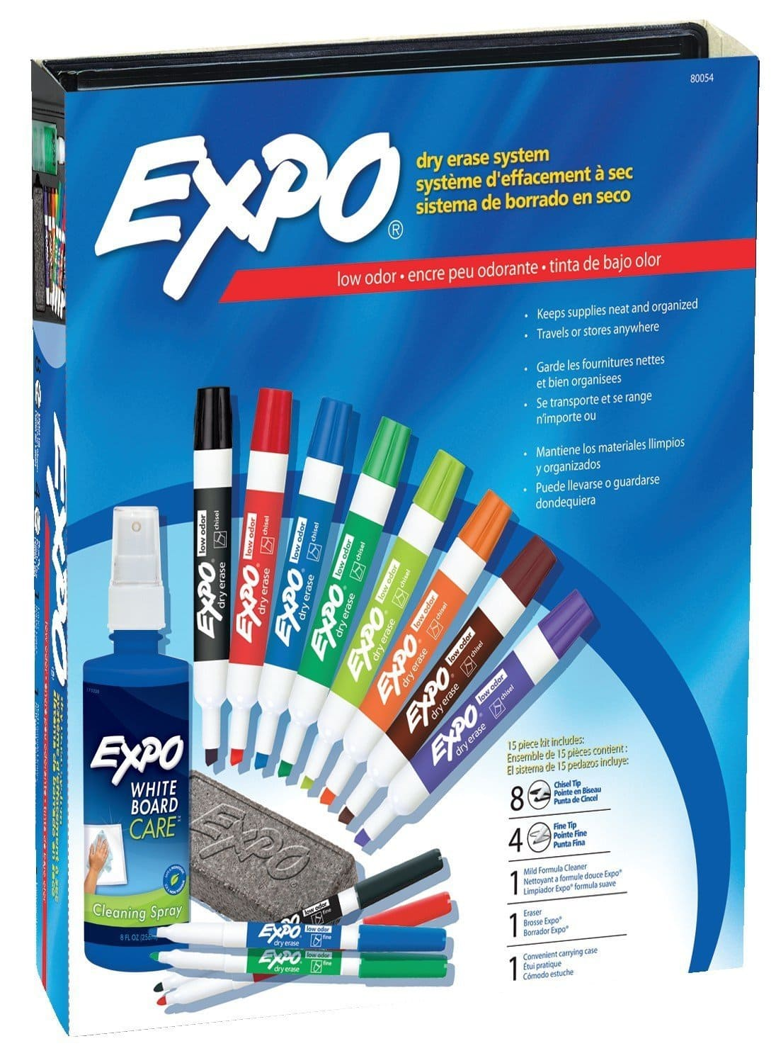 EXPO Low-Odor Dry Erase Markers, Chisel Tip, Assorted Colors, 15-Piece Set $13.49 FS w/ Prime @Amazon