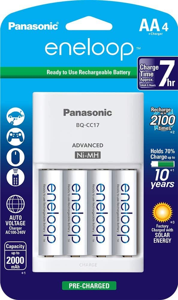 Panasonic Advanced Individual Cell Battery Charger Pack With 4 AA Eneloop 2100 Cycle Rechargeable Batteries 1529