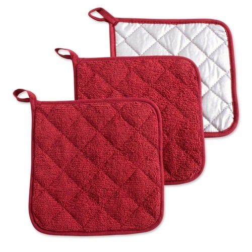 "DII 100% Cotton, Machine Washable, Heat Resistant, Everyday Kitchen Basic Terry Pot Holder, 7 x 7"", Set of 3, Potholder, Barn Red, 3 Piece $6.99 FS w/ Prime @Amazon"