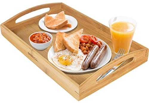 Greenco Rectangle Bamboo Butler Serving Tray With Handles $10.01 + FS w/ Prime @Amazon