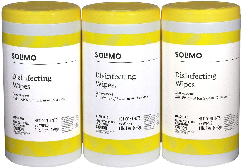 Amazon Brand - Solimo Disinfecting Wipes, Lemon Scent