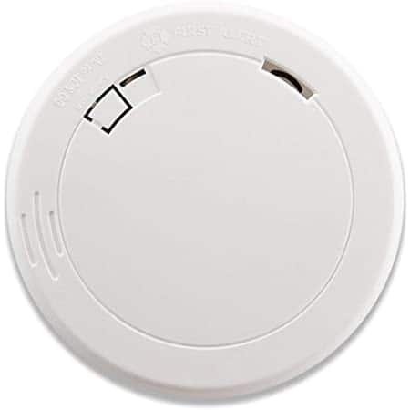 First Alert Slim Photoelectric Smoke Detector / Smoke Alarm with 10-Year Sealed Battery, model PR710 for $14.99 at Amazon