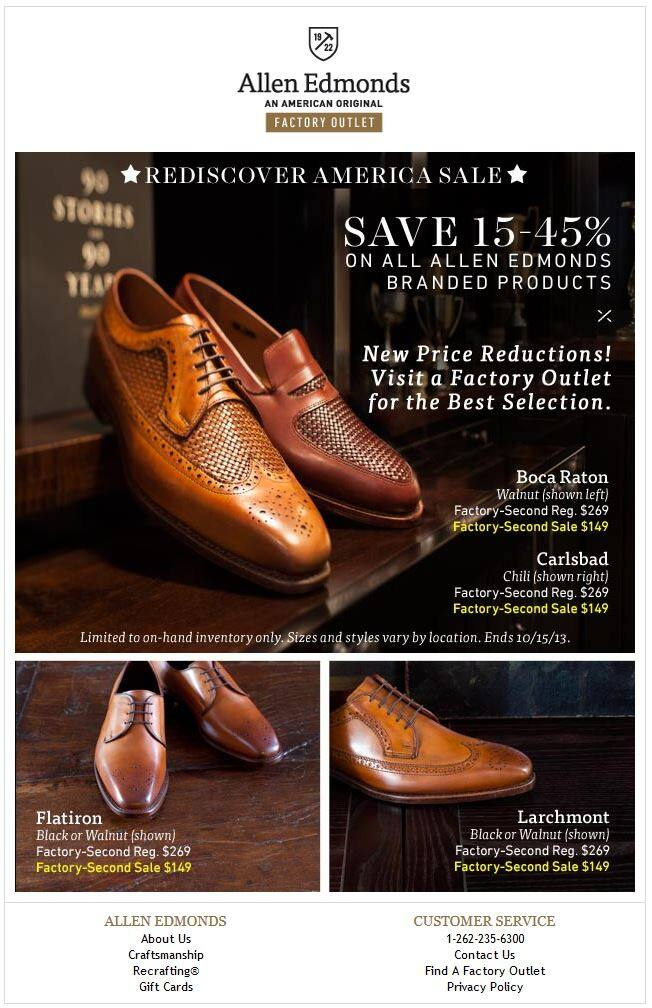 Allen Edmonds 333 Last Shoes for $149 +FS no Tax most of the states