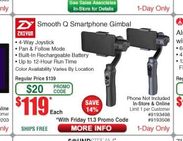 Zhiyun Smooth Q 3-Axis Handheld Gimbal Stabilizer for Mobile Phones $119 after promo code @ Frys