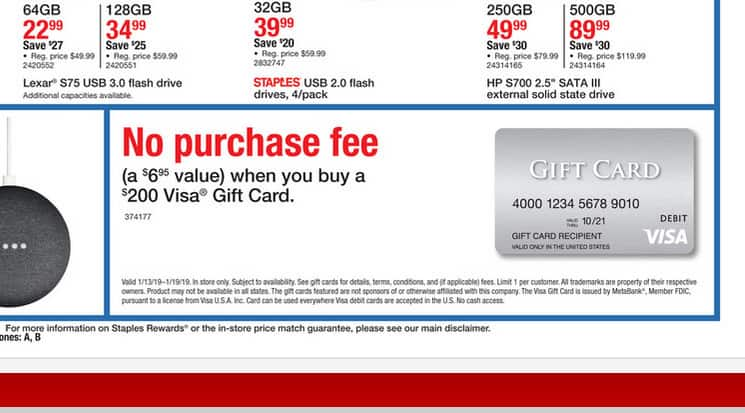 Fee-Free $200 Visa Gift Cards @ Staples BM start on 1/13