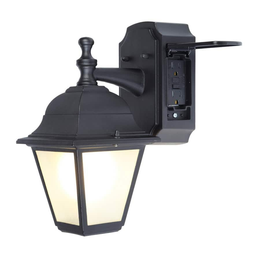 Outdoor Lamp Clearance: Portfolio GFCI 11.81-in H Black Outdoor Wall Light With
