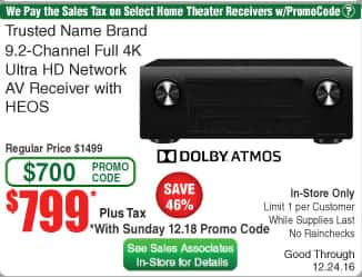 Denon AVR X4300H at Fry's in store B&M ONLY $799 with promo code starting Sunday 12/18