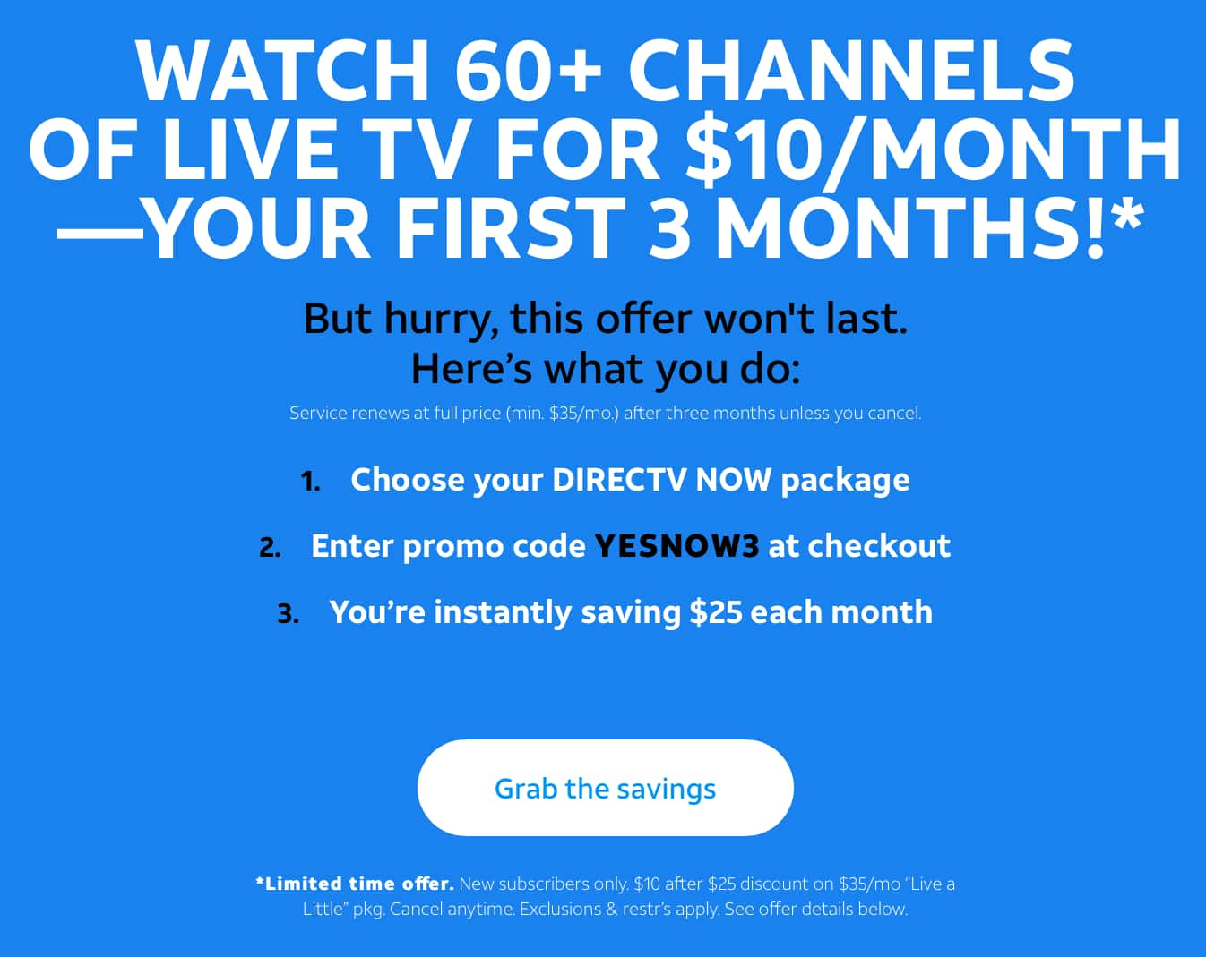 Directv Now $10/month for three months