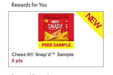 Free Bag of Cheez-it Snap'd Crackers  Kellogg's Family Rewards  ( No Points Needed )