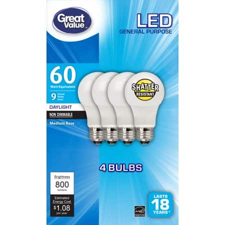 Great Value 60W Equivalent Daylight LED Bulbs 4-Pack $2.97 in-store pickup