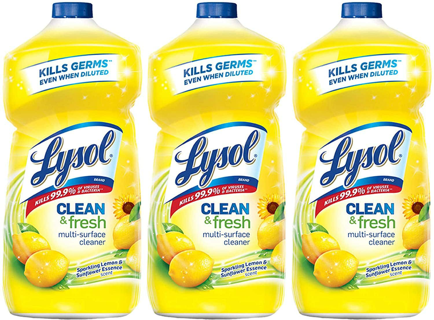 Amazon.com: Lysol Clean and Fresh Multi-Surface Cleaner, Lemon and Sunflower, 40 Ounce (Pack of 3) for $8.97
