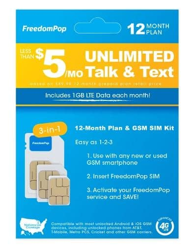 FreedomPop 1GB 12-Month Prepaid SIM $14.98 Clearance at some Target B&M Stores (YMMV)