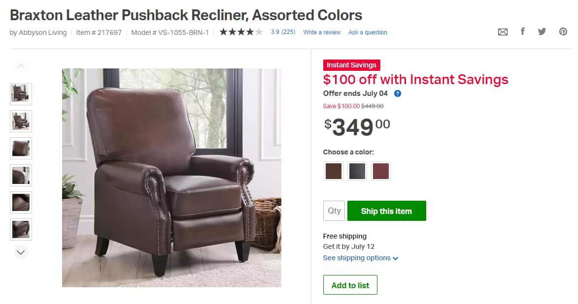 $100 OFF for Braxton Leather Pushback Recliner, Assorted Colors for $349+FS