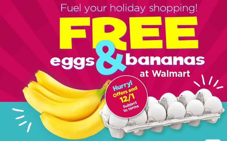 Free bananas and 1 dz eggs at walmart