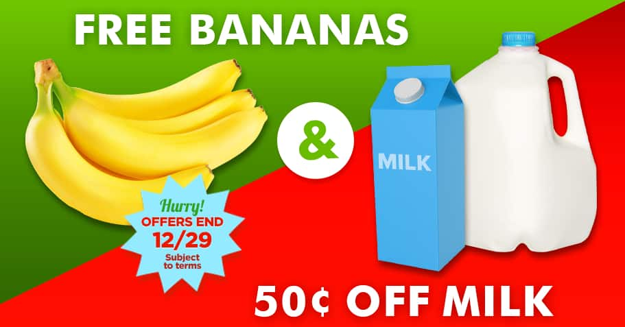 Free bananas, Ham free upto $3 and $0.50 milk any brand at walmart