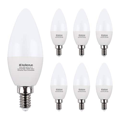 6-pack Kakanuo Candelabra LED Bulbs 60W equiv, non-dimmable warm white 3000K for $9.79 @ Amazon