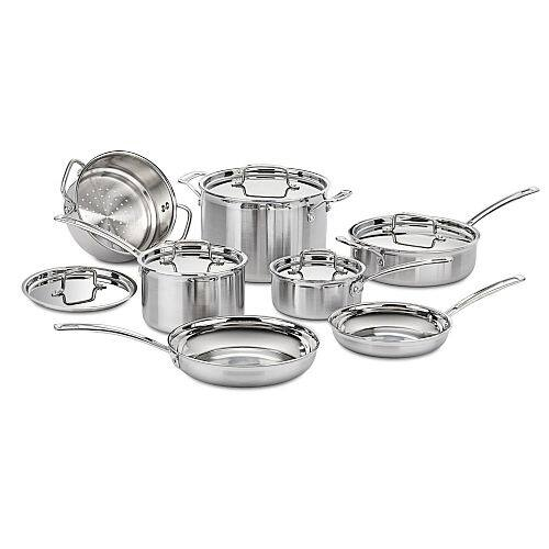 Cuisinart 12 Piece Multiclad Pro Tri-Ply Stainless Steel Cookware Set (MCP-12N) - $198.55 w/ Free Shipping