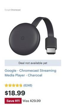Best Buy Black Friday Google Chromecast Streaming Media Player Charcoal For 18 99