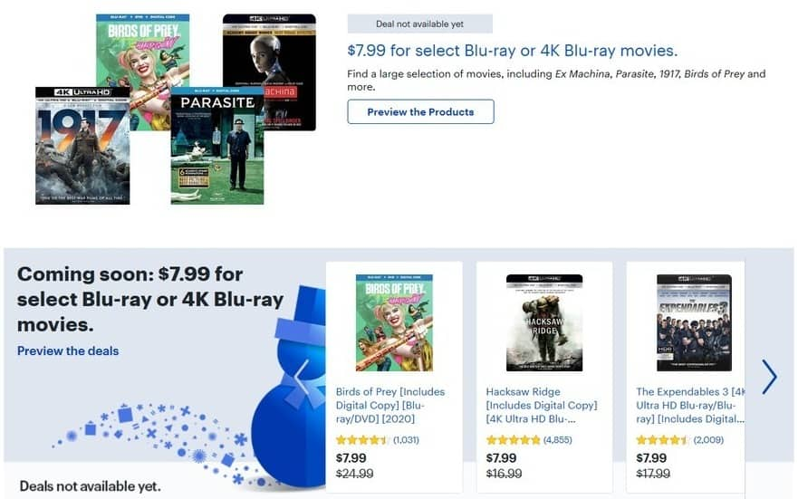 Best Buy Black Friday Select Blu Ray Or 4k Blu Ray Movies Ex Machina Parasite 1917 Birds Of Prey Hacksaw Ridge And More For 7 99
