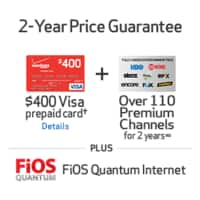 Verizon Broadband Services Deal: Verizon FIOS Triple Play Bundle (TV, Internet, Phone) + $400 Visa card + Premium Channels 2 Years