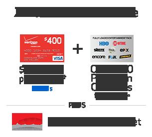 Verizon FIOS Triple Play Bundle (TV, Internet, Phone) + $400 Visa card + Premium Channels 2 Years