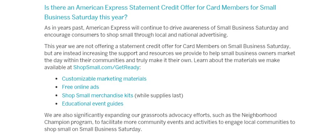 Amex Small business Saturday is dead!
