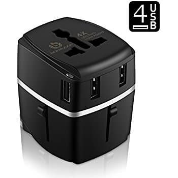 Universal International Travel Adapter 3.4a with 4 USB ports, free ship with prime, $10.97