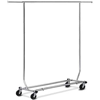 Adjustable clothing rack single rod with wheels $29.66 free shipping with prime