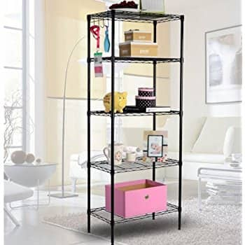 "5-Tier 23.6x13.8x59.1"" Wire Shelving for $24.99 with free shipping on Amazon Prime"