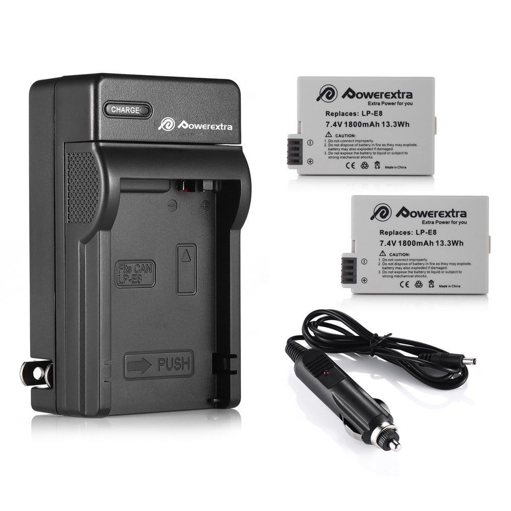 2 Pack LP-E8 Powerextra Replacement Battery With Charger for Canon @$11.89 at Amazon + FS