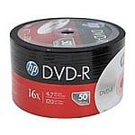 HP 4.7GB 16X DVD-R 2x50pk spindles (DM00070B) $13 +FS @ Newegg