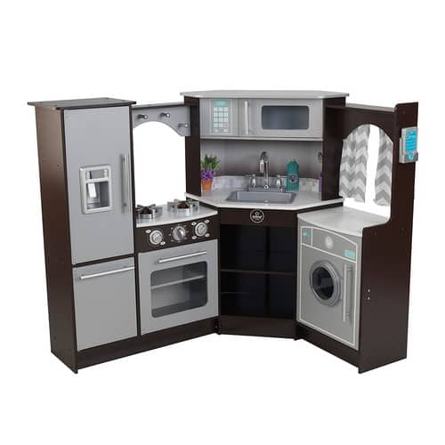 KidKraft Ultimate Corner Play Kitchen with Lights & Sounds, Brown/White $164.99 + fs