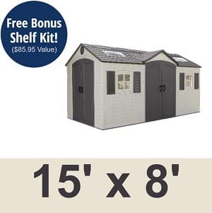 Lifetime Garden Sheds 60079 15 x 8 ft Dual Entry Plastic Storage Shed + shelf kit for $1,551 + free ship and no tax $1551