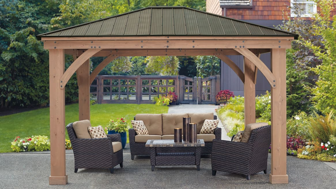 Yardistry 12' x 14' Cedar Gazebo With Aluminum Roof - $1299 + tax In - Yardistry 12' X 14' Cedar Gazebo With Aluminum Roof - $1299 + Tax In