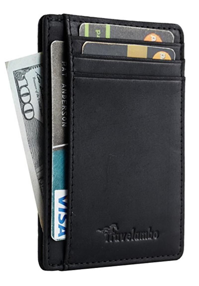 Leather Slim Wallet RFID Blocking -32% $10.87